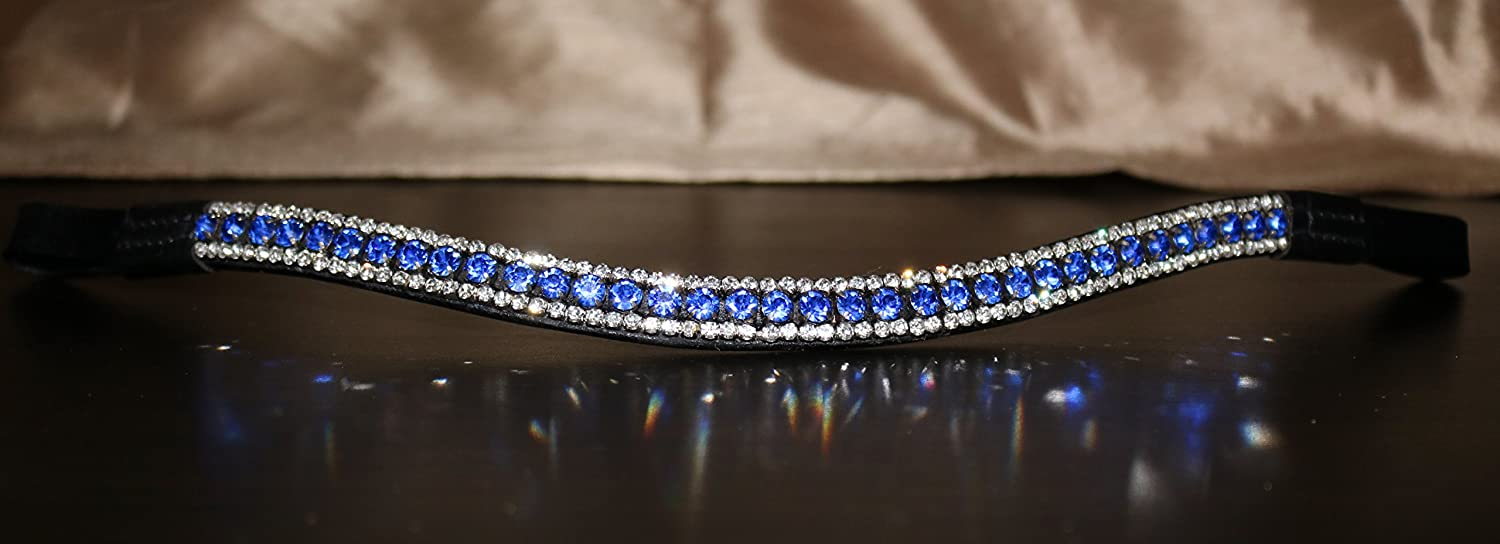 Equipride 3 Row Curve Shape Bling Crystal Browband Royal Blue (Full ( 16' ), Black Leather)