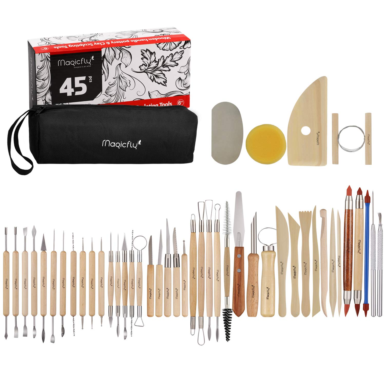 Magicfly Pottery Tools, 45Pcs Clay Sculpting Tools Set with Storage Bag, Wooden Ceramic Tools for Art Crafts, Beginners