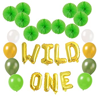 Wild One Balloons Banner Birthday Decorations Party Supplies For 1st Boy Girl Safari Jungle Theme