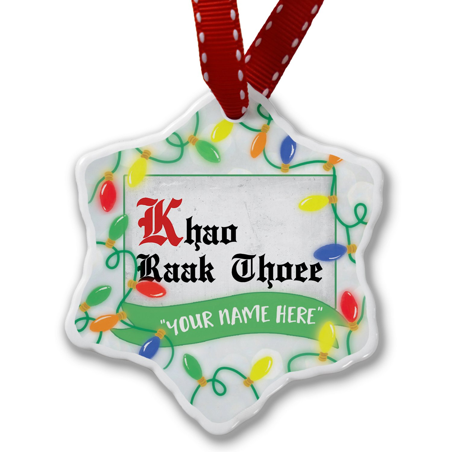 Personalized Name Christmas Ornament, I Love You ThaI Classic Print from Tailand NEONBLOND
