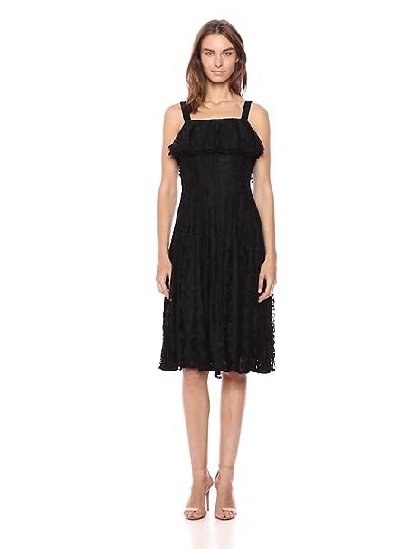 Taylor Dresses Womens Sleeveless Ruffle Lace Midi Dress At