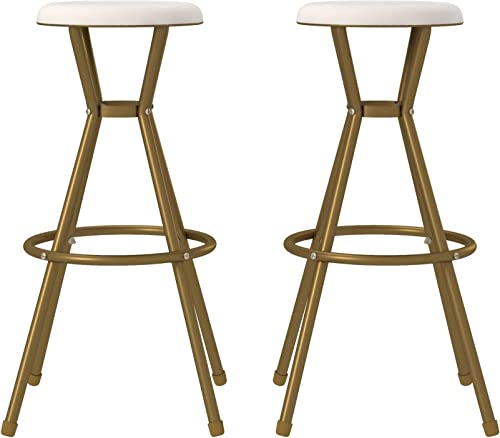 CoscoProducts COSCO Stylaire Bar Stool, Gold White, 2-Pack