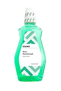 Amazon Brand - Solimo Mint Mouthwash, Fresh Mint, 1 Liter