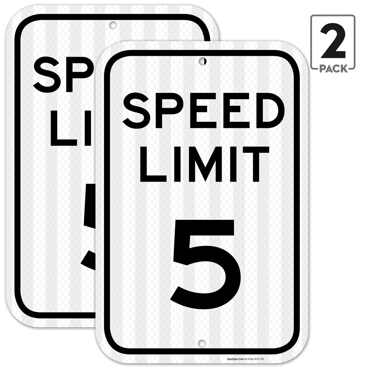 (2 Pack) Speed Limit 5 MPH Sign, 12x18 3M Reflective (EGP) Rust Free .63 Aluminum, Easy to Mount Weather Resistant Long Lasting Ink, Made in USA by SIGO Sign