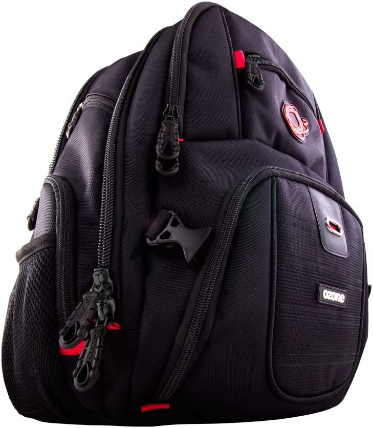Mochila Gaming Ozone Survivor Backpack - Mochila para Portatil hasta 15,6 Pulgadas - Cremallera Ultra Segura, Marzo Reforzado, Acolchada, Resistente, Negro