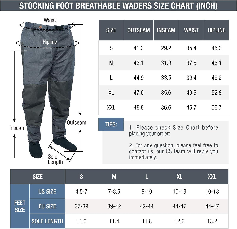 HISEA Breathable Stockingfoot Insulated Waist Waders Hunting Fly Fishing Waders