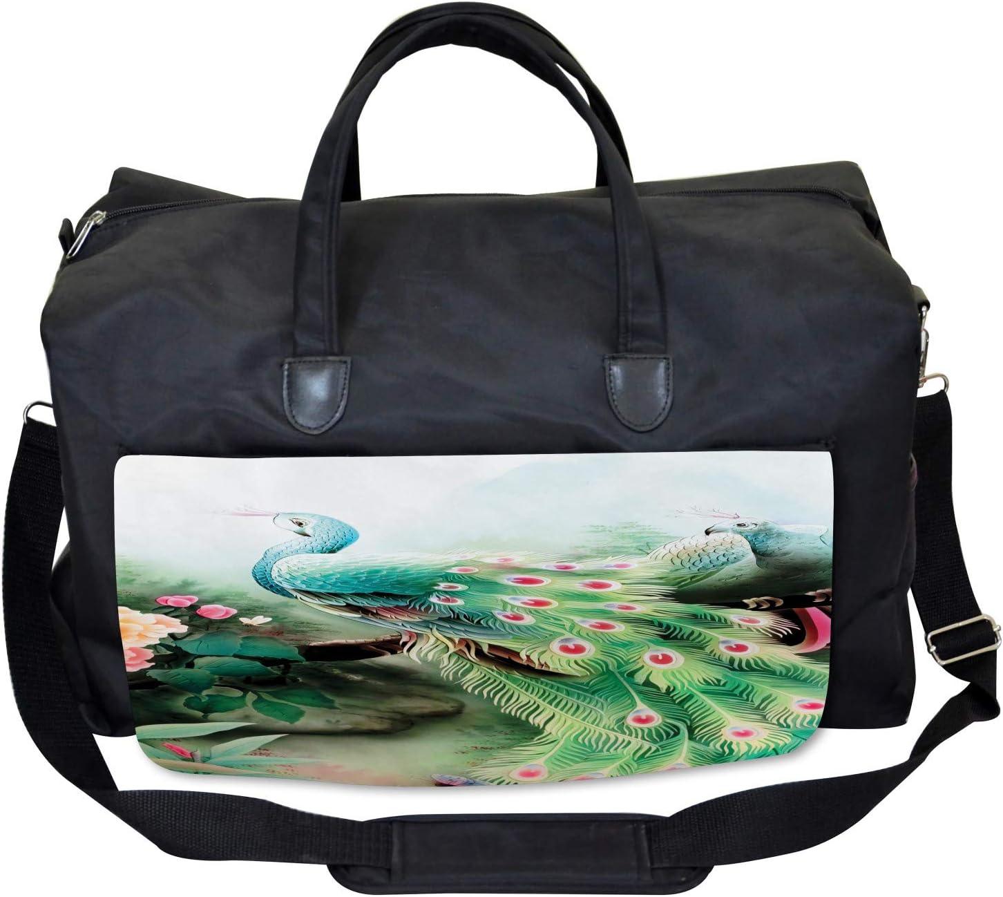 Summer Flower Garden Ambesonne Peacock Gym Bag Large Weekender Carry-on