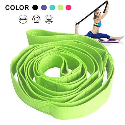 Yoga Stretching Strap,Premium Yoga Strap Stretch Band for Stretching and Rehabilitation-Rehab Stretch Band with 10 Neoprene Padded Loops to Improve ...