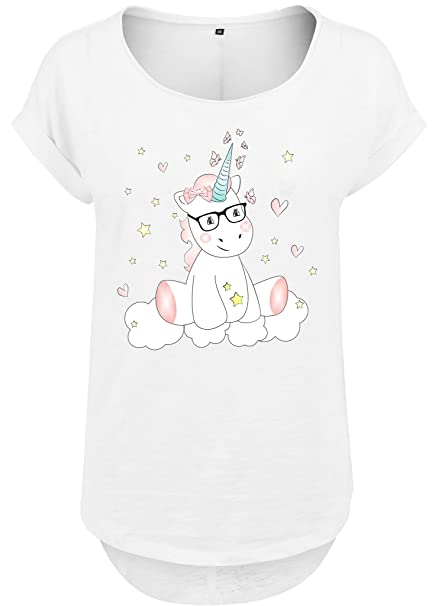 Mujeres Mujer Larga Slub Camiseta Camisa de Verano Camisa Mujer Unicornio Unicornio Cutie mit Gafas - Blanco, L: Amazon.es: Ropa y accesorios