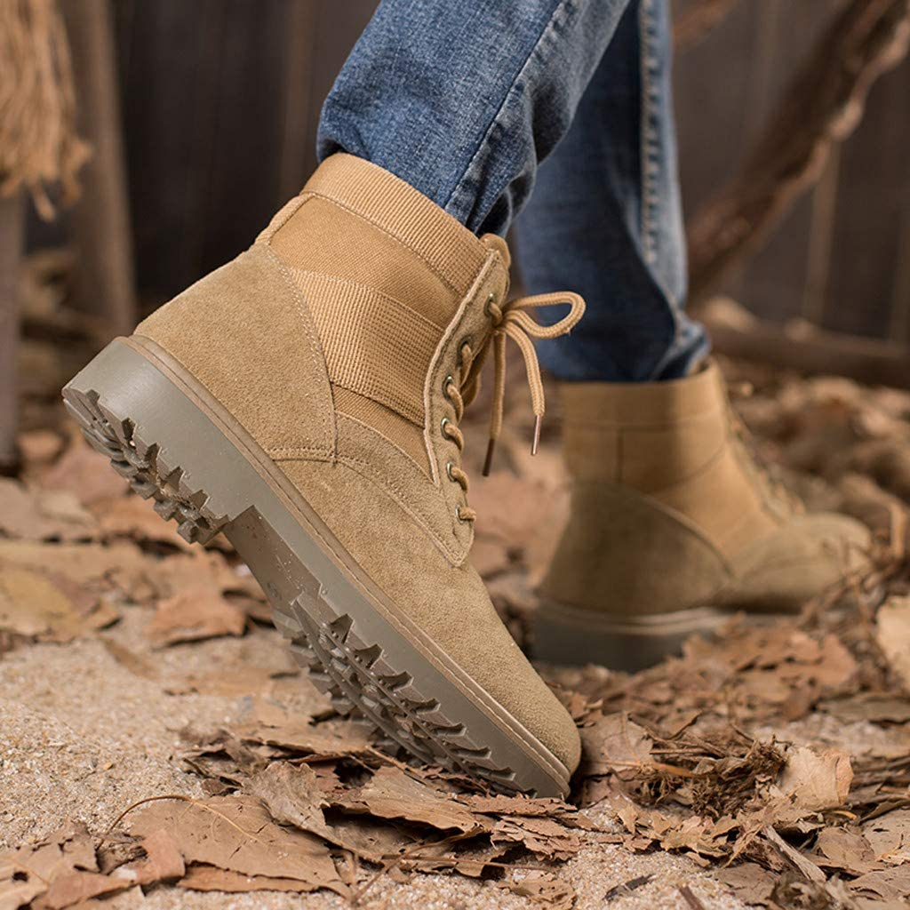 Men Chukka Boot Casual Leather High-Top Outdoor Suede Ankle Walking Shoes