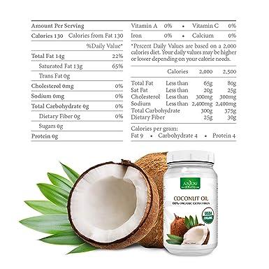 Aceite de coco orgánico Anjoy, sin refinar prensado ...