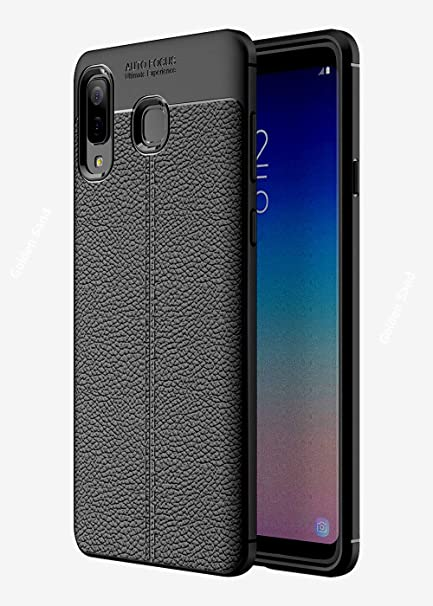 detailed look 32215 e5b18 Golden Sand Leather Texture Series Shockproof Armor TPU Back Cover Case for  Galaxy A8 Star/Samsung A8 Star Mobile Cover, Midnight Black
