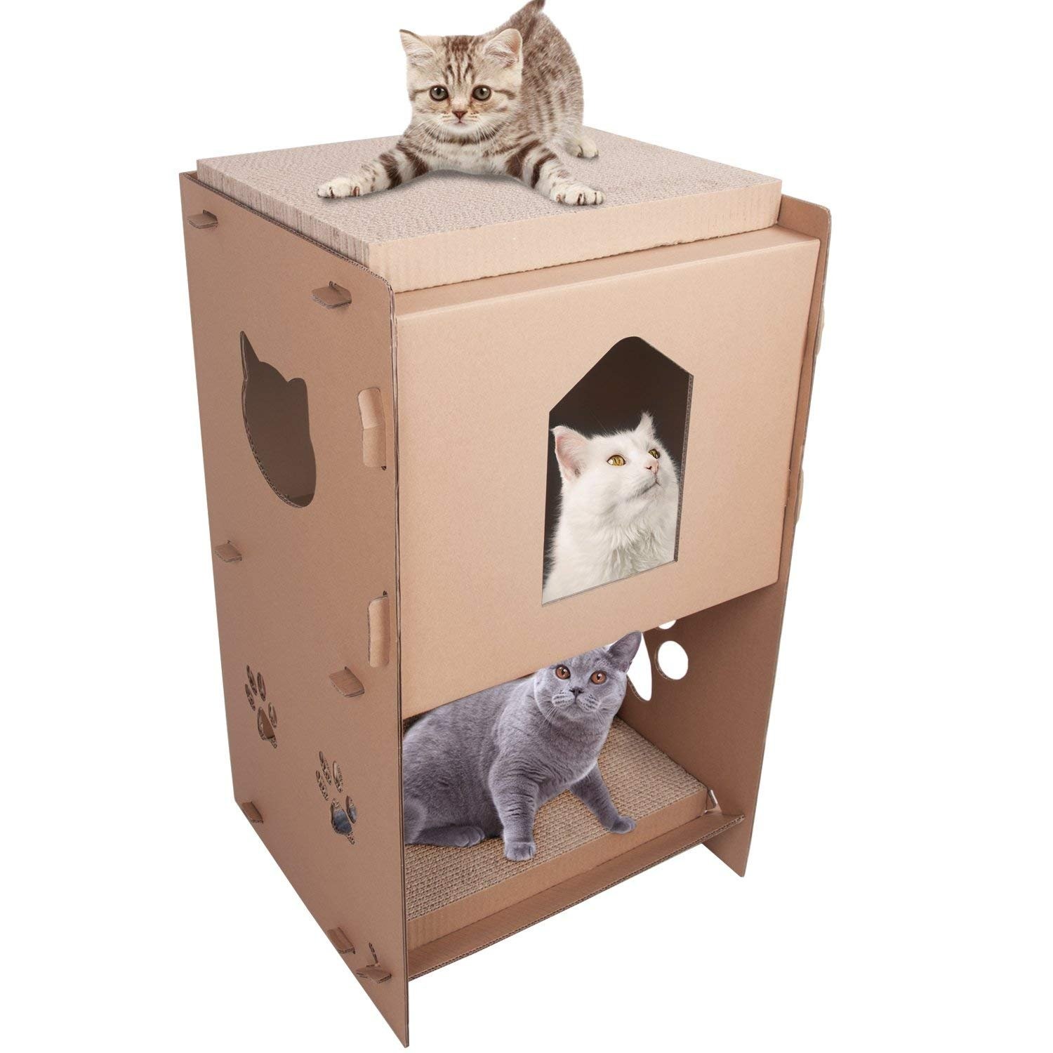 LEVE 3-storey Cat Scratcher House Durable Cardboard Cat Lounge with 2 Scratching Boards