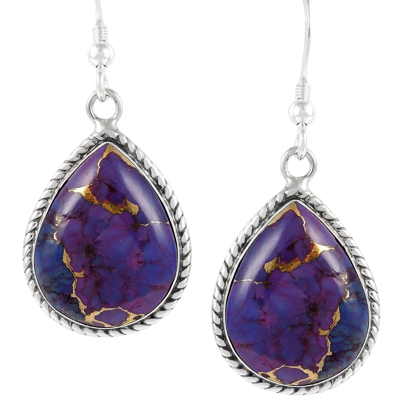 Purple Turquoise Earrings 925 Sterling Silver Genuine Turquoise (SELECT from different styles) (Roped Teardrops)