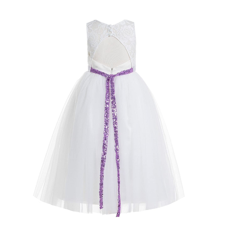 Ivory Floral Lace Neck A-Line Keyhole Back Flower Girl Dress Christening 178