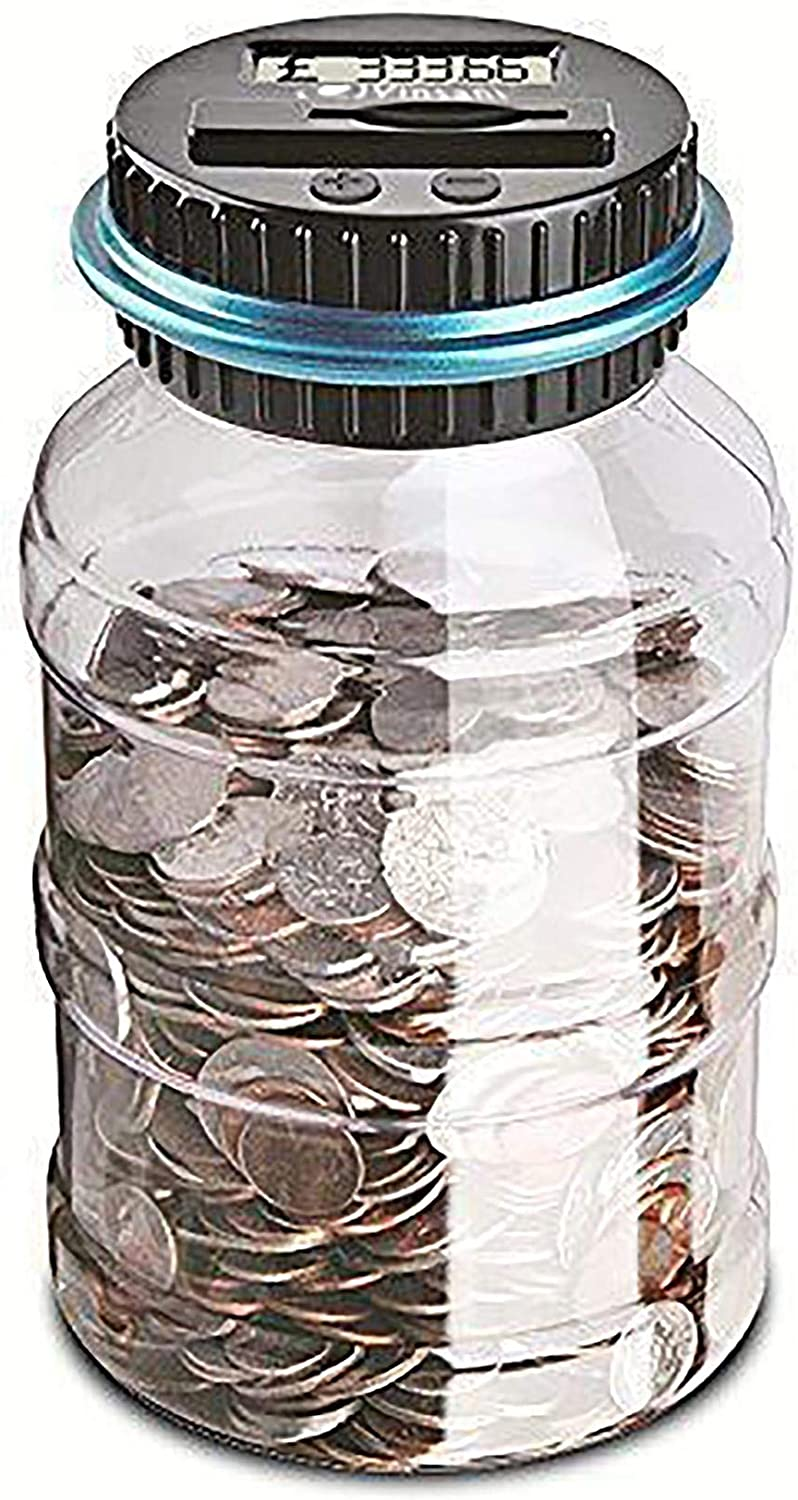 Vinsani Digital Piggy Bank Counter Automatic Uk Coin Counting Jar Money Box For Kids And Adult Safe Money Bank Coin Saving Pot Container With Lcd Display And Large Capacity Amazon Co Uk Kitchen