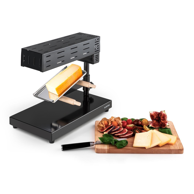 Klarstein Appenzell 2G Schweizer Raclette Grill • fonduta • griglia da tavola • stand • fusione tradizionale del formaggio • 600 Watt • temperatura regolabile continua • piatto grill • nero