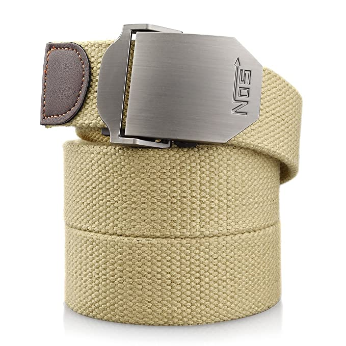 f9b261b2ab0 Mens Canvas Web Belt Military Style With Nickel Free Buckle Webbing Work  Fabric Webbed Belt 50 quot