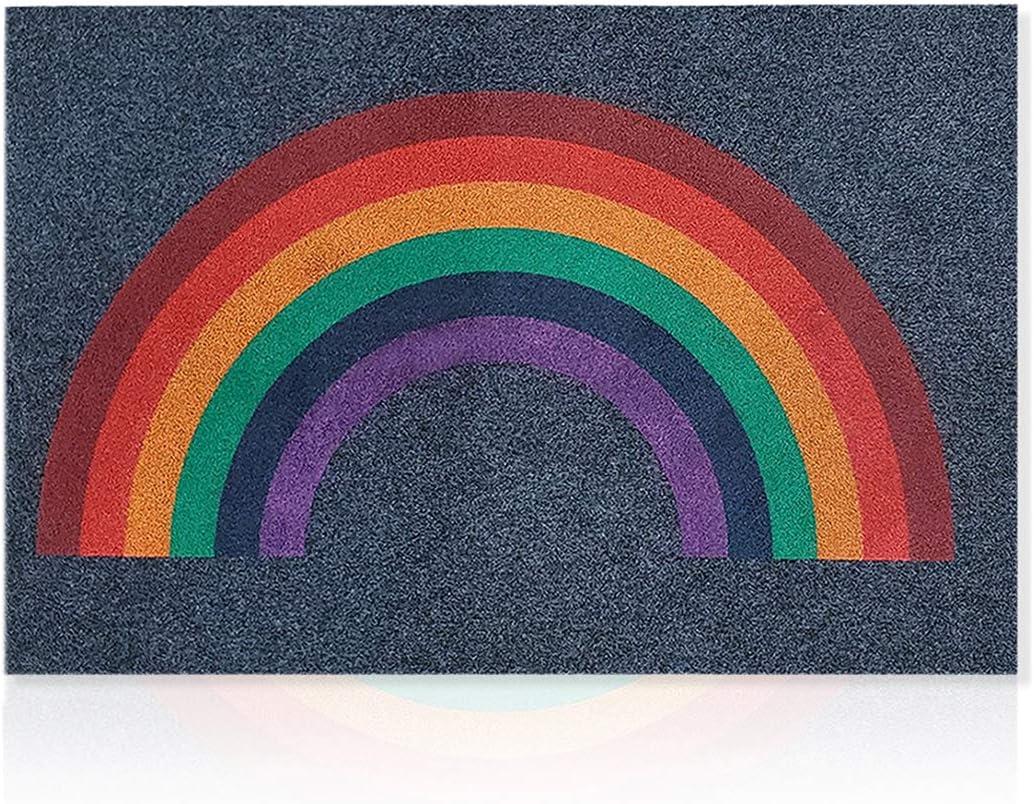 LAN SHAN QUE Rainbow Welcome Door Mat Outdoor Indoor Doormat Large 24X36 with Non Slip Natural Rubber Backing Super Absorb Mud Easy Clean Front Door Entry Rug