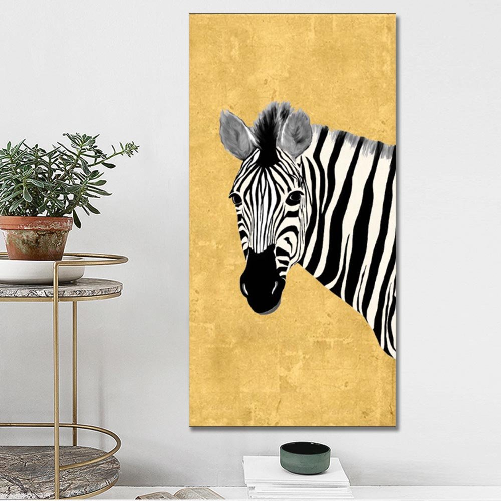 Amazon.com: AIDAYU ART 100% Hand Painted Golden Zebra Painting On ...
