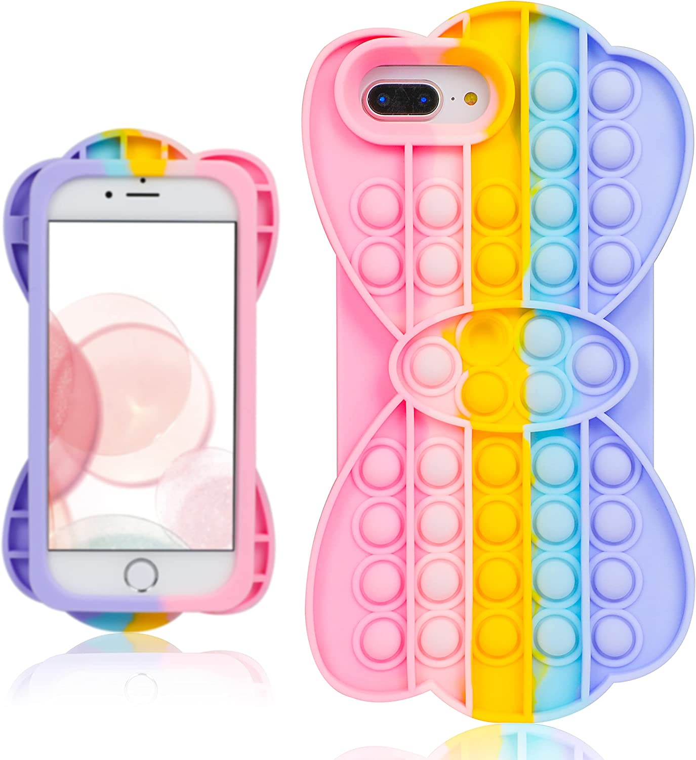 oqpa for iPhone 7 Plus/8 Plus/6 Plus/6S Plus Case Kawaii Funny Cute Fun Silicone Design Cover for Girls Kids Boys Teen Fashion Cool Unique Fidget Bow Bubble Cases (for iPhone 6/7/8 Plus 5.5