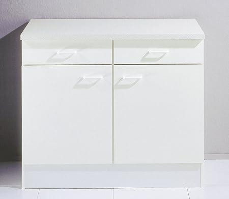 Meuble Bas Cuisine Blanc A 2 Portes Et 2 Tiroirs Amazon Fr