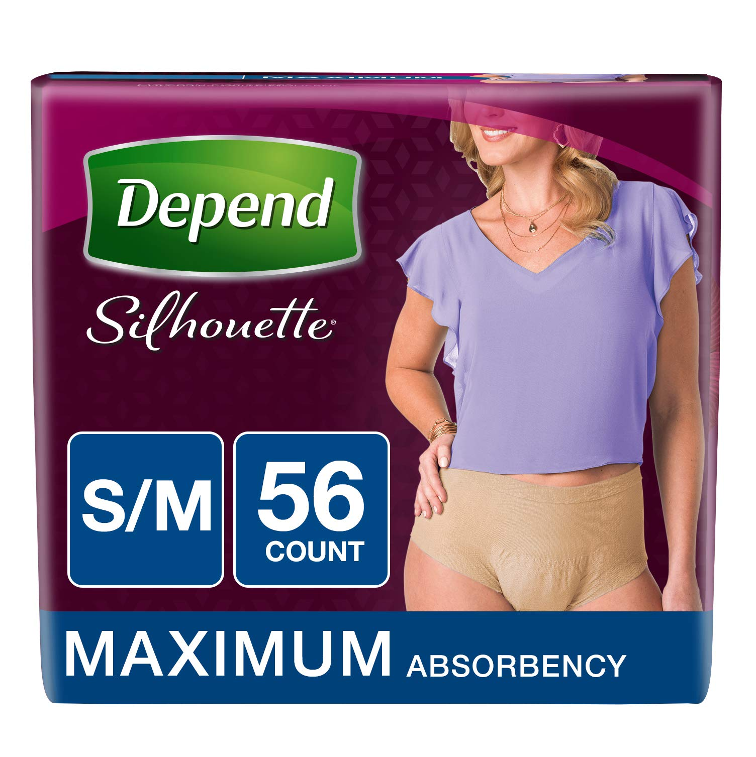 Depend Silhouette Incontinence Underwear for Women, Maximum Absorbency, S/M, Beige, 56 Count by Depend