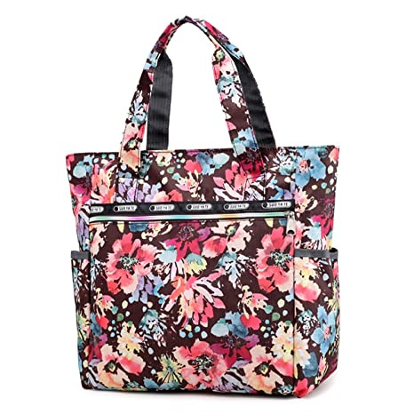 Women s Canvas Nylon Floral Multi Pocket Top Handle Tote Handbags Bag  Shoulder Bag Shopping Bags 4eadeab68a