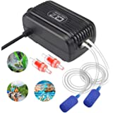 Aquarium Air Pump, Rifny Adjustable Air Pump Kit with Dual Outlet Air Valve, Fish Tank Oxygen Pump with Air Stones Silicone T