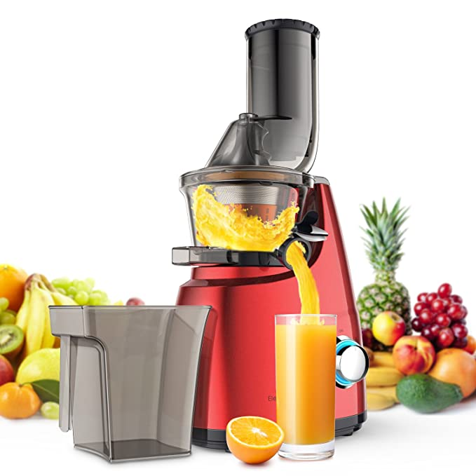 Elechomes Slow Masticating Juicer Extractor, Wide Chute Cold Press Juicer Machine with Quiet Motor & Reverse Function for High Nutrient Fruit and Vegetable