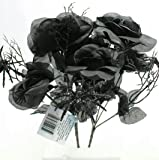 """6-Stem 14"""" Artificial Black Rose Bouquets with Spiders Floral Halloween (Pack of 2)"""