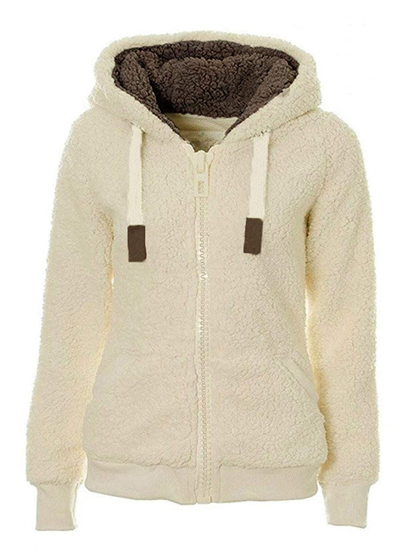 Les umes Womens Sherpa Fleece Hooded Jumper Jacket Coat Zip Faux Fur Outwear