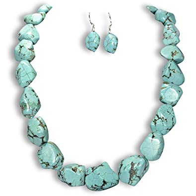Natural Turquoise Necklace & Earrings Set Sterling Silver Gemstone Jewellery UK Gift Idea by Tantric Tokyo fNqruyx
