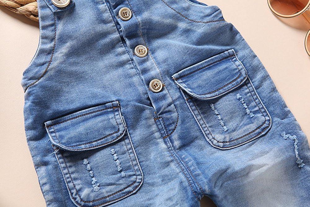 Kidscool Baby /& Toddler Girls Denim Blue Cardigan Adjustable Jean Overalls