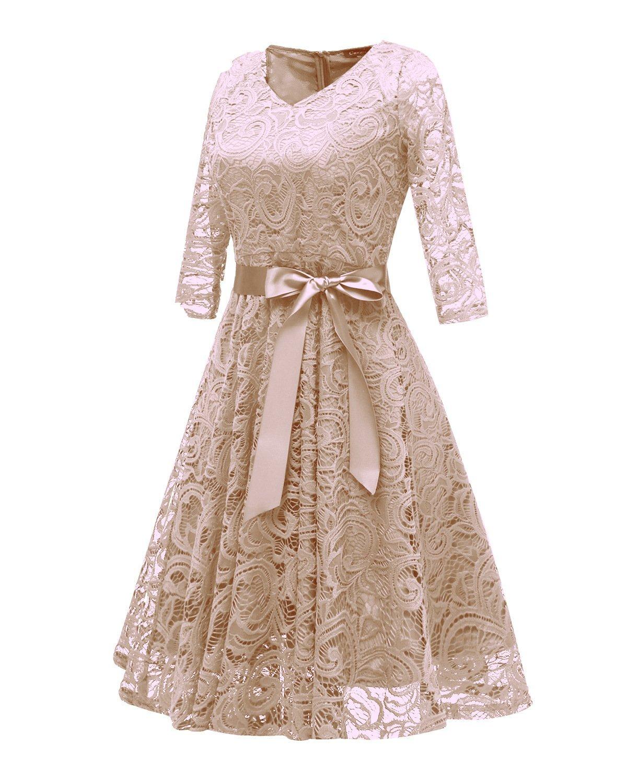 RAISEVERN Abito Donna Eleganti da Cerimonia Lunghi Manica a 1/2 Vestito Lungo Donna Estivo Abito da Sera L