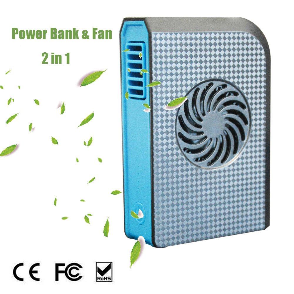 JoysoulEU Power Bank Cooling Fan, Portable Bladeless 3 speed Travel Fan Pocket Fan Desk Box Fan, 6000mAh Power Bank Rechargeable Fan for Home Office Travel Daily Use (black1)