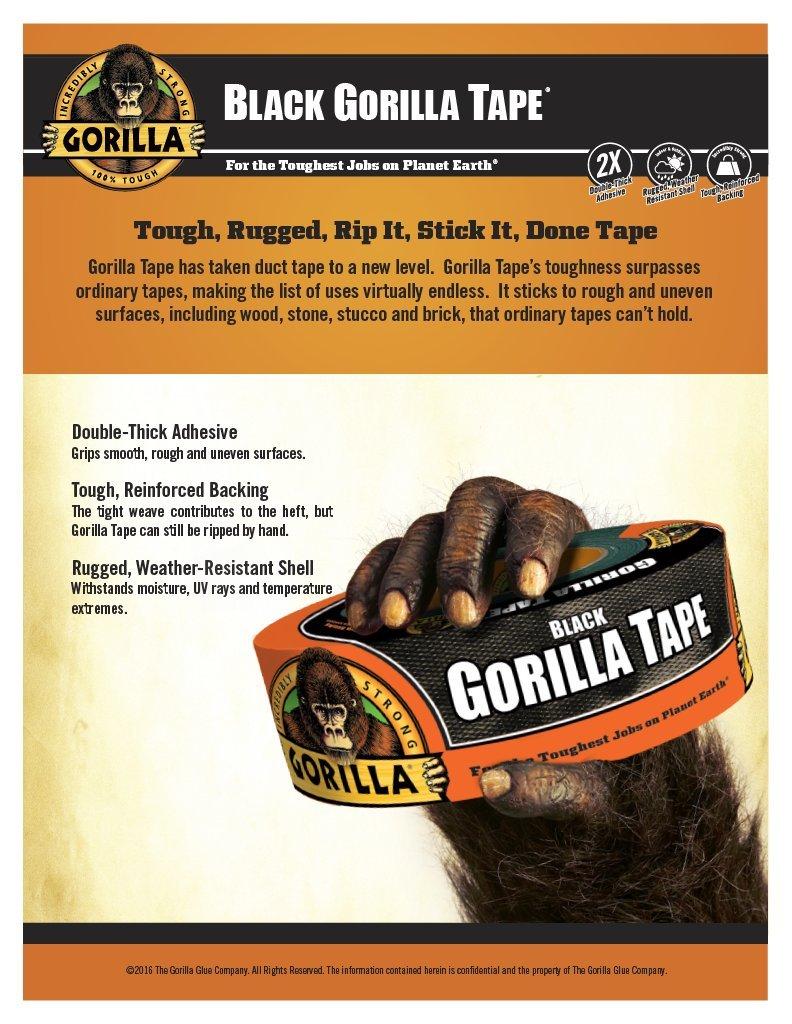 Gorilla Tape, Black Duct Tape, 1.88'' x 12 yd, Black, (Bulk Pack of 16) by Gorilla (Image #2)