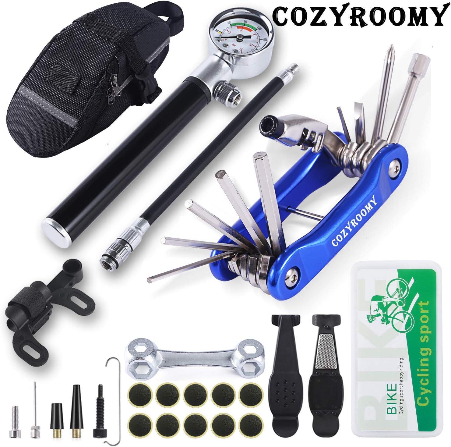 COZYROOMY Kit Herramientas Bicicleta,Reparación de pinchazos Bicicleta, 210 PSI Mini Pump, Multi-Herramienta 10 en 1, Palancas de neumáticos y 10 Parches,1 Bolso portátil. 6 Meses de Garantia