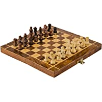 ADA Handicraft Professional Tournament Wooden Chess Board with 32 Pawns, Small Size Chess Board Brown and White Color…