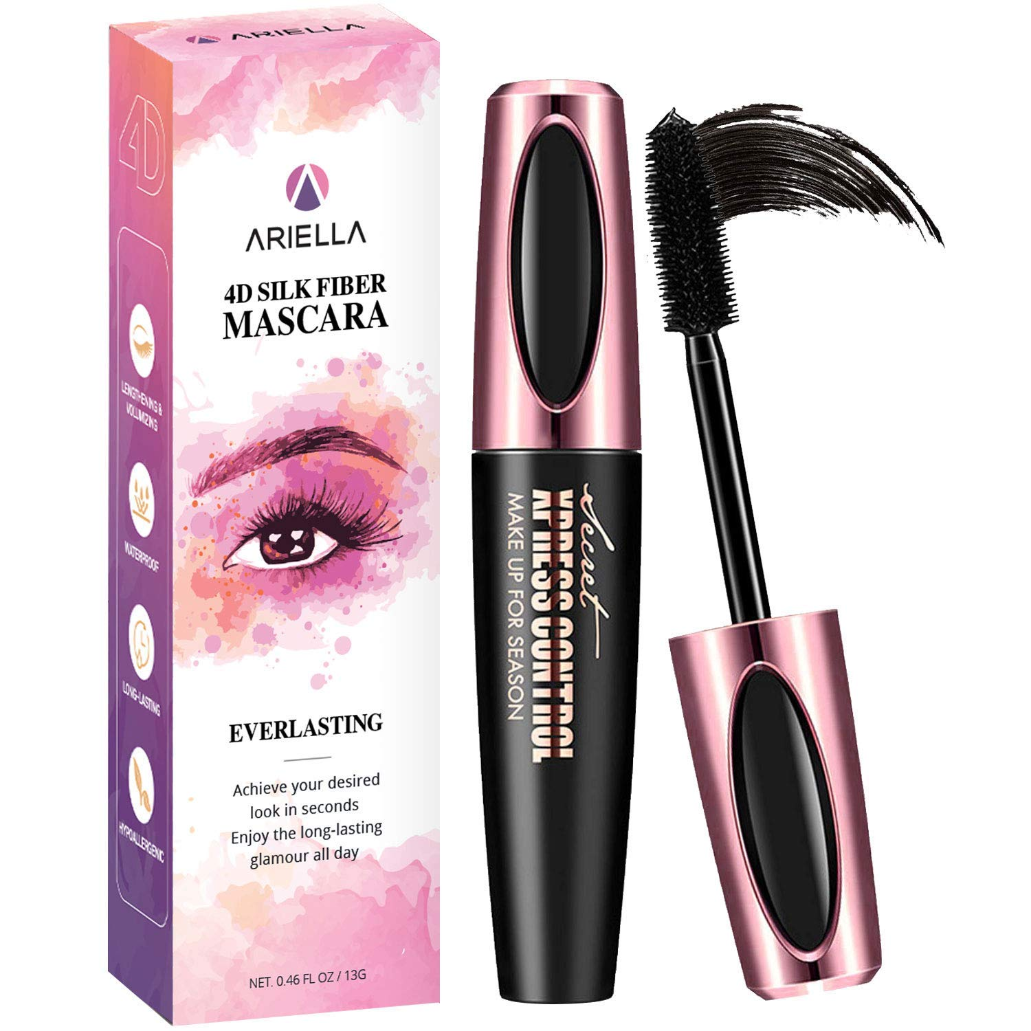 3398e64c443 Natural 4D Silk Fiber Lash Mascara, Waterproof & Smudge-Proof, All Day  Exquisitely Lush, Full, Long, Thick, Smudge-Proof Eyelashes