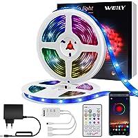 Tiras LED 10M Bluetooth, WEILY impermeable Sincronización de música luces led musica RGB Tira de luz LED que cambian de…