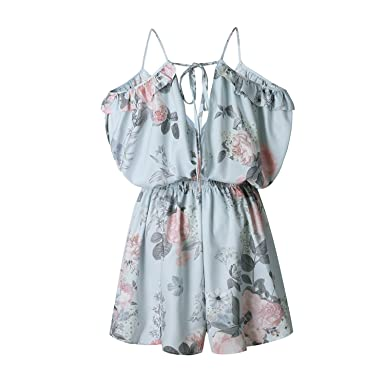 c3bb448f537 AKABELA Women Summer Overalls Beach Dress Casual Mini Shoulder Strapless  Jumpsuits Playsuit  Amazon.co.uk  Clothing
