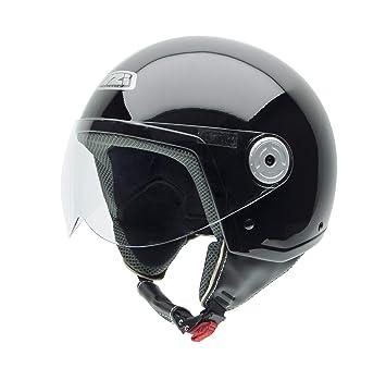 NZI Vintage II Casco de Moto, Negro Brillo, 58 (L)