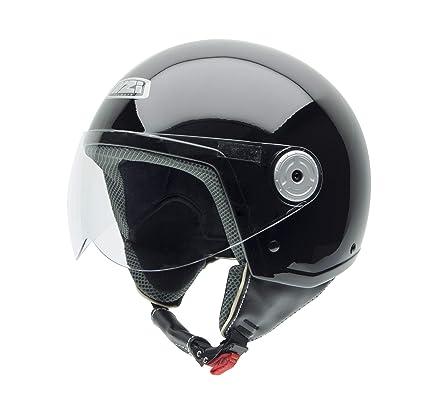 NZI Vintage II Casco de Moto, Negro Brillo, 55-56 (S)