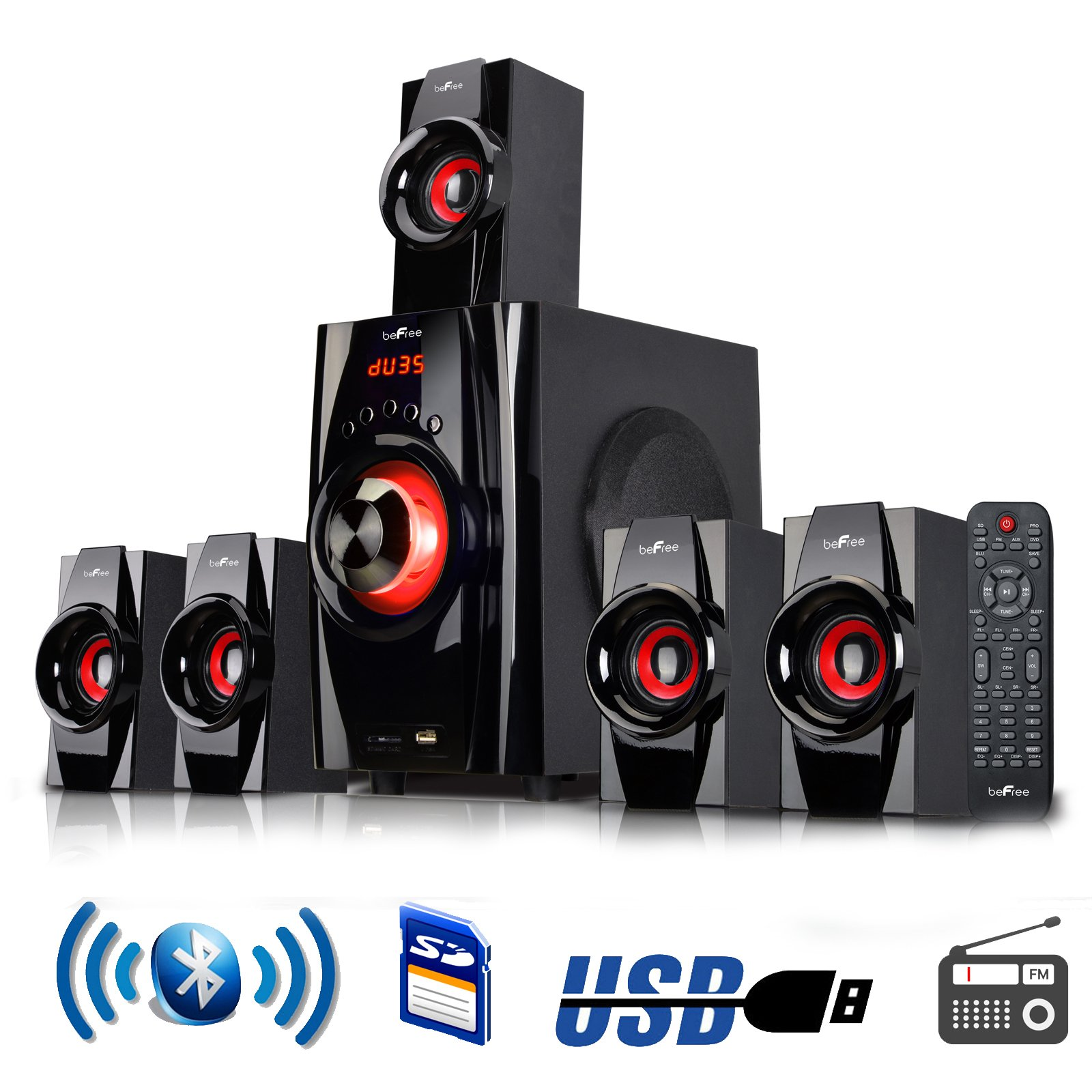 BEFREE SOUND BFS-410 Bluetooth Home Stereo System with USB and SD Slots – Red by BEFREE SOUND