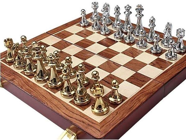 Bzsm El Nuevo Metal de ajedrez de Viaje Conjunto de Madera Maciza Doble Tarjeta de ajedrez Profesional Juego de Mesa Juego Set de Gama Alta Regalos, Regalos: Amazon.es: Hogar