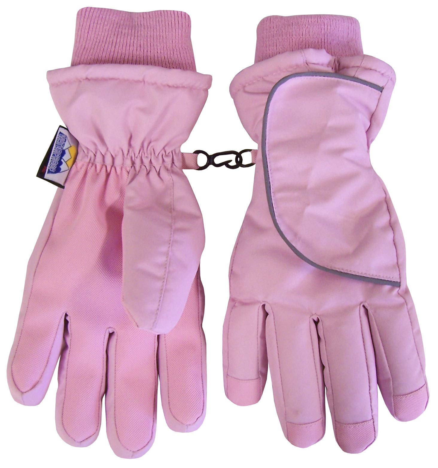 N'Ice Caps Kids and Toddler Easy On Wrap Thinsulate Waterproof Gloves (Pink, 3-4yrs)