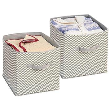 chaussures de sport 898c4 95c3d mDesign boîte de Rangement Tissu (Lot de 2) avec poignées – Boite Rangement  tiroir – Boite tiroir Polyvalente – en polypropylène – Taupe/Nature