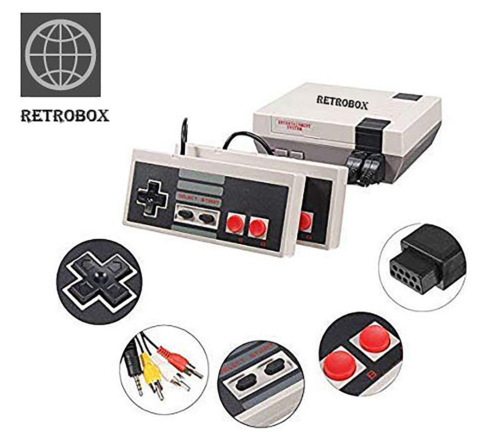 Retro Classic Game Console Retro Childhood Game Classic Game Consoles Built-in 620 Childhood Classic Game Dual Control 8-Bit Console Handheld Game Player Console for Classic Games Family TV Video by RetroBox (Image #1)
