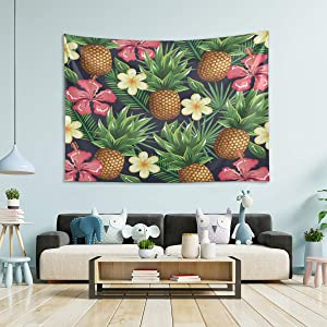 N/ A Tapestry Wall Hanging Room Decor - Tropical Pineapple Flowers Large Wall Tapestry for Bedroom Wall Tapestrys Classroom 60x50 Inch